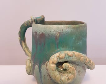 Handmade pottery mug - Octopus - one of a kind