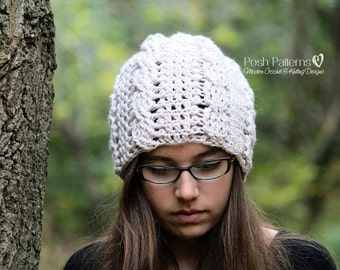 Crochet PATTERN - Slouchy Hat Crochet Pattern - Crochet Pattern Hat - Crochet Cable Hat Pattern - 3 Sizes Baby to Adult - PDF 260
