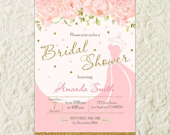 Gold Glitter Pink Floral Watercolor Bridal Shower Invitation, Gold Glitter Pink Floral Wedding Shower Invitation, Pink Flower Bridal Invite