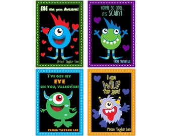 Monsters Valentines - Monster Classroom Valentine Cards - Boy Valentines - Little Monster Valentine - Monsters Valentines - Kids Valentine