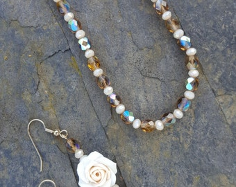 Romantic Champagne Fire Polish and Rose Necklace and Earrings Set