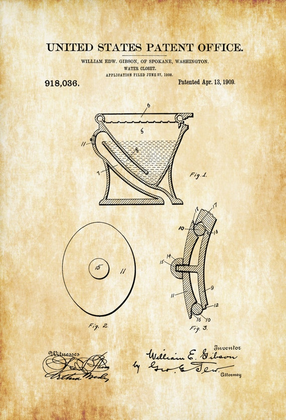 Water Closet Patent Patent Print Wall Decor Bathroom