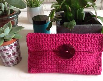 Fuchsia pink cotton pouch