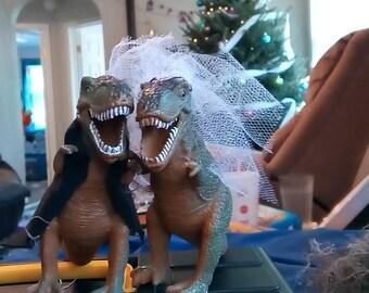 Dinosaur Wedding Cake Toppers Bride and Groom