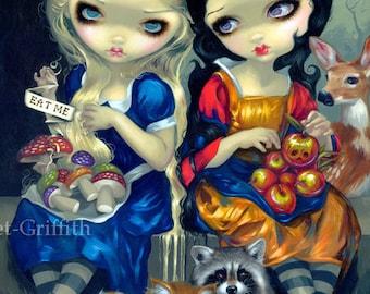 Alice and Snow White fairytale wonderland fairy art print by Jasmine Becket-Griffith 8x10