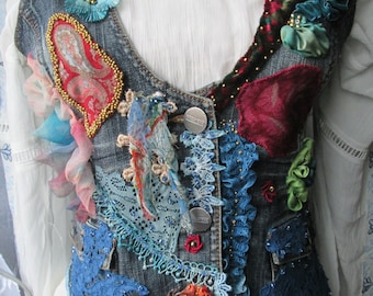 Unique art to wear,vintage upcycled, art to wear, reworked vest ,bohemian vest, bohemian romantic,altered couture,embroidered detailes