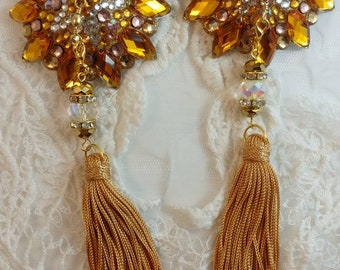 NEW! Gold hues burlesque pasties nipple tassels : The Golden Double Star by D. Lovely Pasties Design.