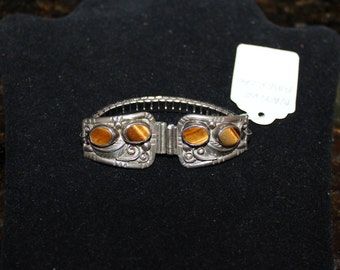 Native American Sterling Silver Watch Band With Tigers Eye