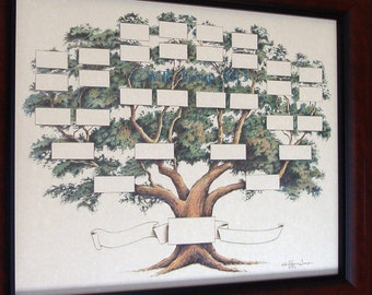 Family Tree Chart shows 5-6 generations on a 14x18 inch print, Ancestry Chart, Pedigree Chart, Genealogy, Pet Pedigree
