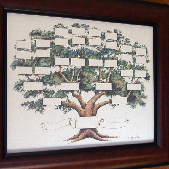 Wedding Tree Genealogy Chart By Melangeriedesign On Etsy: Family Tree Chart Shows 5-6 Generations On A 14x18 Inch Print