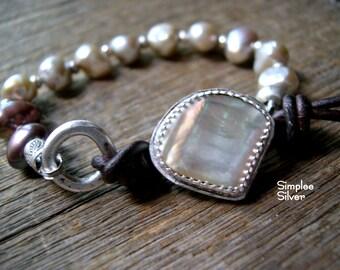 Freshwater Pearl and Leather Bracelet  -  Rustic Bracelet  -  Bezel Set Mother of Pearl Bracelet  -  SimpleeSilver  -  Boho Bracelet
