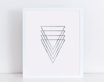Silver Geometric Triangles 5x7 Print, Modern Minimalist Wall Decor