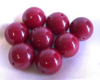 Vintage CHALCEDONY Beads Red Dyed 10mm pkg 8 rb2
