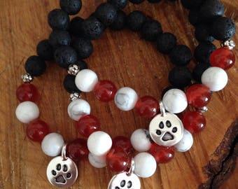 School Spirit // Essential Oil Diffuser Bracelet // Gemstone Bracelet // School Colors