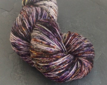 Hand Dyed Knitting Yarn, Lightly Speckled, Purple, Plum, Pinks, Yellows, Indie Dyer, Singles/Roving Yarn, ilovepinkgeraniums, 225m, 100g