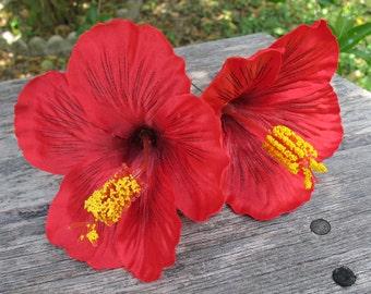 2 - Tropical Hawaiian RED Hibiscus hair pin flower  - weddings-
