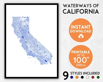 California map print, California print, California poster, California wall art, Map of California, California art print, USA map print
