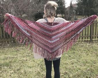 Red Burgundy Pink Crochet Triangle Fringe Shawl Scarf ~ Lightweight Scarf ~ Any Season Scarf ~ Boho Hippie Gypsy Trendy Unique Scarf