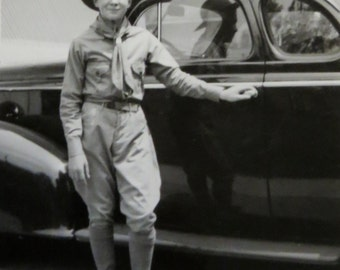 Vintage 1940's Boy Scout Ready, Prepared And Proud Snapshot Photograph - Free Shipping