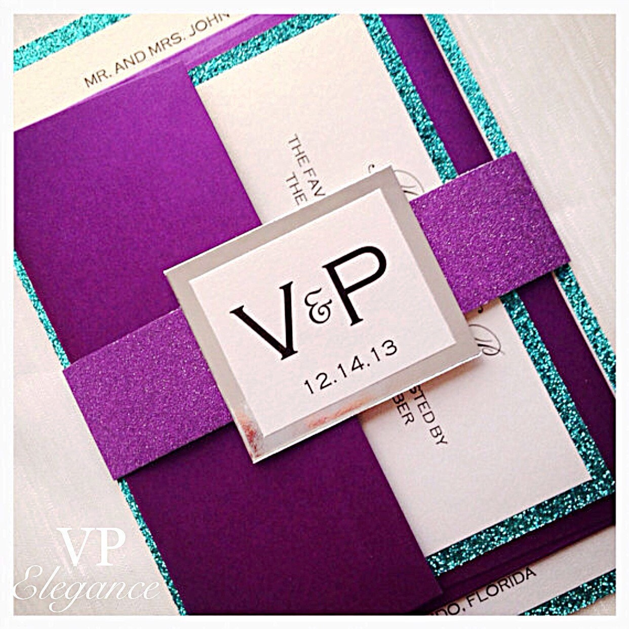 Purple Wedding Invitations Purple and Teal Wedding