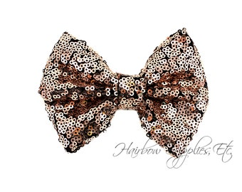 Mocha Large Sequin Bows 4 inch Bows - Bow Applique, Sequin Bow, Large Bows, Big Bows, Wholesale Bows, Sequin Bow Tie, Sequin Bow Headband
