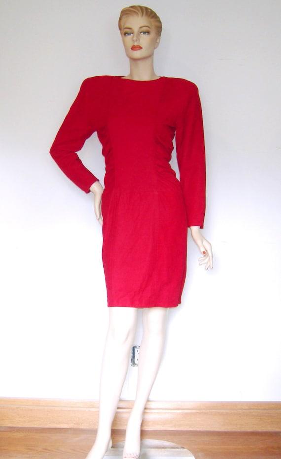 Jahrgang der 1980er Jahre Kleid VAKKO VLV rote heiße Sexbombe