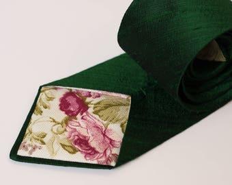 Emerald Green Neck Tie - Raw Silk Ties - Dark Green Wedding Neck Ties - Green Tie -  Emerald Wedding - Groomsmen Ties