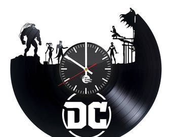 DC Comics Superheroes Vinyl Record Design Wall Clock - Decorate your home with Modern Art - Best gift for him and her, adult and children