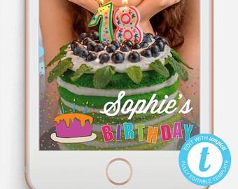 Birthday Snapchat Filter, Birthday Snapchat Geofilter, Editable Snapchat Filter, Templett, Snapchat Filter Neon, Party Snapchat Filter, Cake