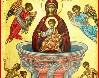 BYZANTINE ART.byzantine.the Virgin Mary- Fountain life-religious icons. greek art. made in greece. orthodox byzantine icon