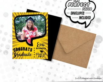 Pop Art Graduation Photo Magnet  |  Personalized Party Favor > Envelopes Included