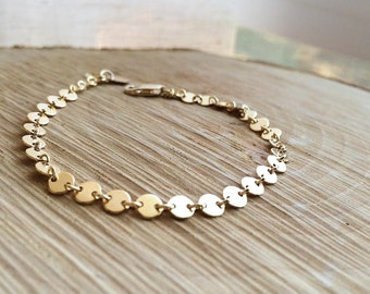 Disc Bracelet, Gold Disc Bracelet, Sequin Disc Bracelet, Chain Bracelet, Gold Bracelet, Minimalist Sequin Discs Bracelet, Everyday Wear
