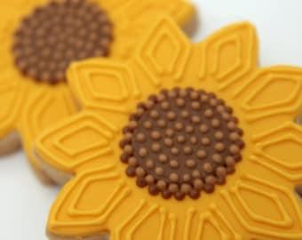 "1 Dozen Decorative 4"" Shortbread SunFlower Cookies"