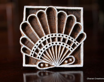 Pottery Stamps, Indian Wood Stamp, Textile Stamp, Wood Blocks, Tjaps, Printing Stamp- Scallop Shell