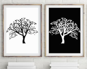 Tree of Life Set of 2 Prints, Scandinavian Art, Minimalist Poster, Black and White Abstract Art, Large Wall Art Prints, Printable Wall Art