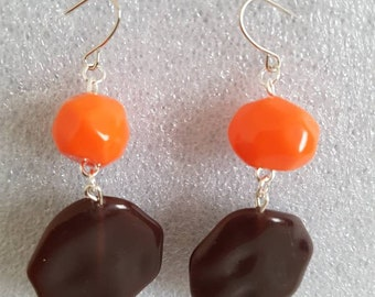 Earrings orange & chocolate