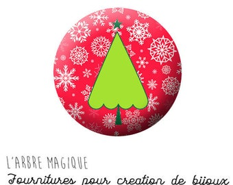 2 cabochons craft Christmas tree red Christmas ref 1412 - choose 20/18/16/14/12 mm glass