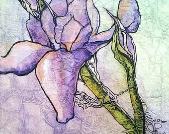 Original Painting WILD IRIS Floral ZEN Inspired Watercolor On Tissue Lynne French Art