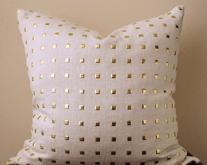 cream studded pillow with metal gold studs