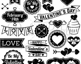Vintage Valentine's Day Stamps Clipart Clip Art, Valentine Clipart Clip Art Vectors - Commercial & Personal