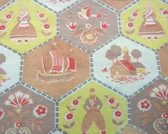 "1950s Dutch Theme Cotton Kitchen Print Fabric Novelty Print Brown, Orange, Green 34"" x 24"""