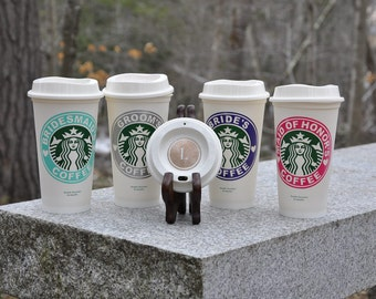 Starbucks / Bridal Party / Coffee Cup / Bride / Groom / Maid Of Honor / Best Man / Bridesmaid / Groomsman / Reusable Starbucks Cup with Lid