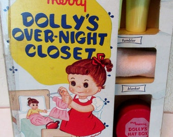Vintage 1950s Childs  My Merry Dolly's OVER NIGHT CLOSET  in Original Box