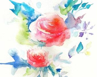 Original colorful abstract flowers watercolor paintings - Bouquet de fleurs abstraites en aquarelles