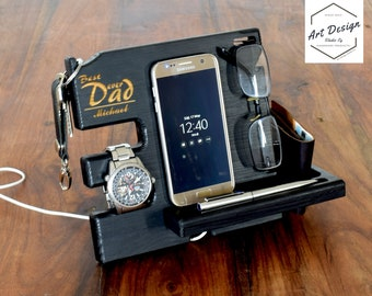 Desk gifts for him etsy birthday gift gifts for him husband gift custom docking station dad desk negle Gallery