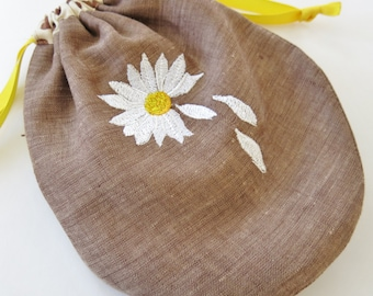 Silk Embroidered Linen Drawstring Pouch