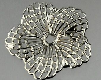 12 pièces d'argent vieilli fini fleur d'Hibiscus en filigrane focal L:ink - 34 mm