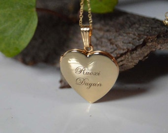Mother's day gift gold heart locket,Gold picture locket,Gold locket for her,Popular gold locket, Lockets,Personalized gold locket.