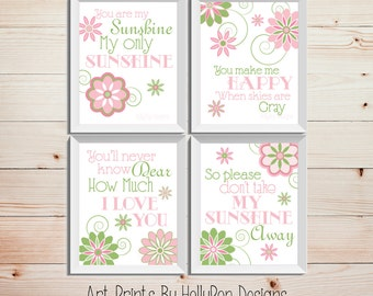 You are My Sunshine Wall Art Pink Green Nursery Inspirational Nursery Song Baby Girls Room Wall Decor Set of 4 Floral Art Prints