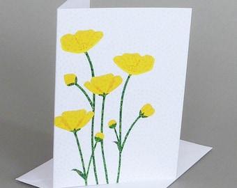 Buttercups: A nature inspired blank notecard, summer, Vermont
